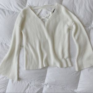 Topshop   Ivory Bell Sleeve Lace Back Sweater